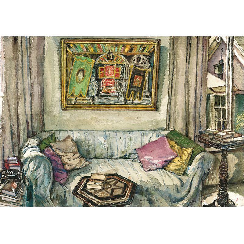 Jaap Nieuwenhuis, bank in woonkamer met schilderij van Paula ...